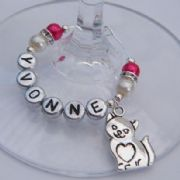 Cat Heart Tummy Personalised Wine Glass Charm - Elegance Style